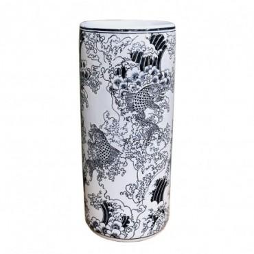 Pot à parapluie en céramique avec relief bleu Koi