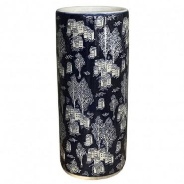 Pot à parapluie en céramique avec relief bleu village