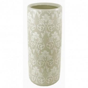 Pot à parapluie en céramique avec relief gris floral