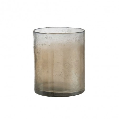 Photophore Smokey Cylindrique Verre Beige Large