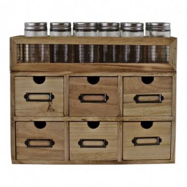 Rangement à épices de 12 pots en verre + 6 tiroirs