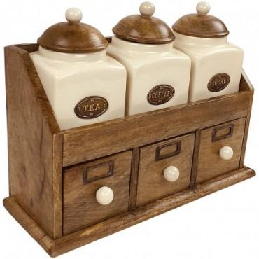Rangement à tiroirs en bois + 3 pots en céramique Tea Coffee Sugar