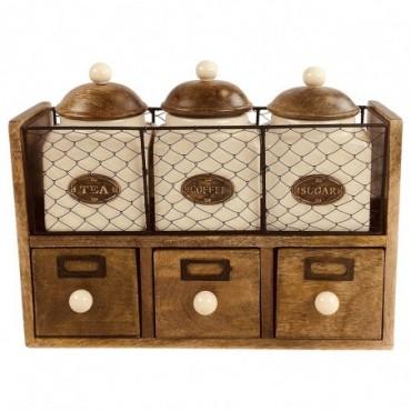 Rangement à tiroirs en bois + grille + 3 pots en céramique Tea...