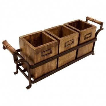 Support en métal avec 3 boîtes en bois