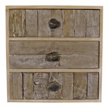 Meuble de rangement 3 tiroirs effet bois flotté avec poignées en...