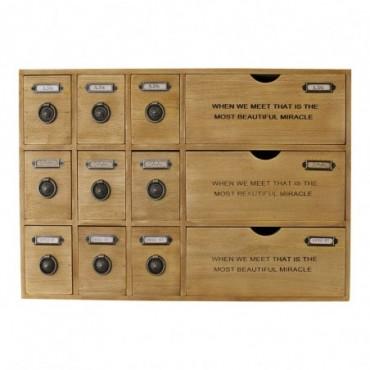 Meuble de rangement rustique à 12 tiroirs tiroirs à bibelots