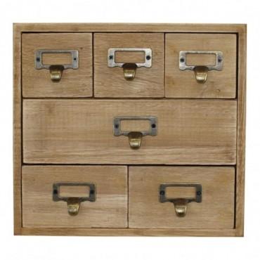 Petit meuble rustique à 6 tiroirs dépareillés en bois