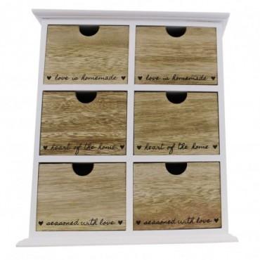 Rangement 6 tiroirs en bois Heart Of The Home