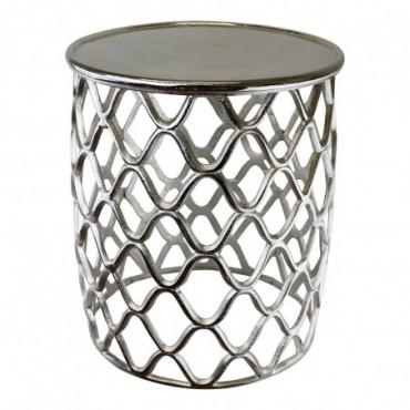 Table d'appoint décorative en métal argenté