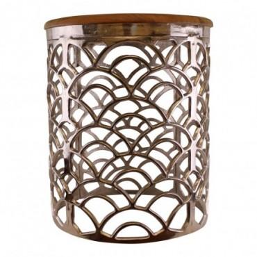 Table d'appoint décorative en métal argenté avec plateau en bois