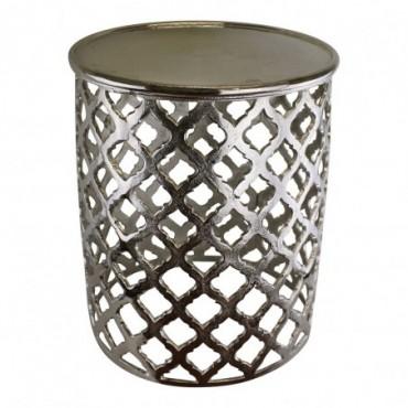 Table d'appoint décorative en métal argenté design en treillis