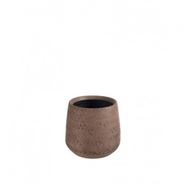 Cache pot Relief Terre Cuite Marron Large
