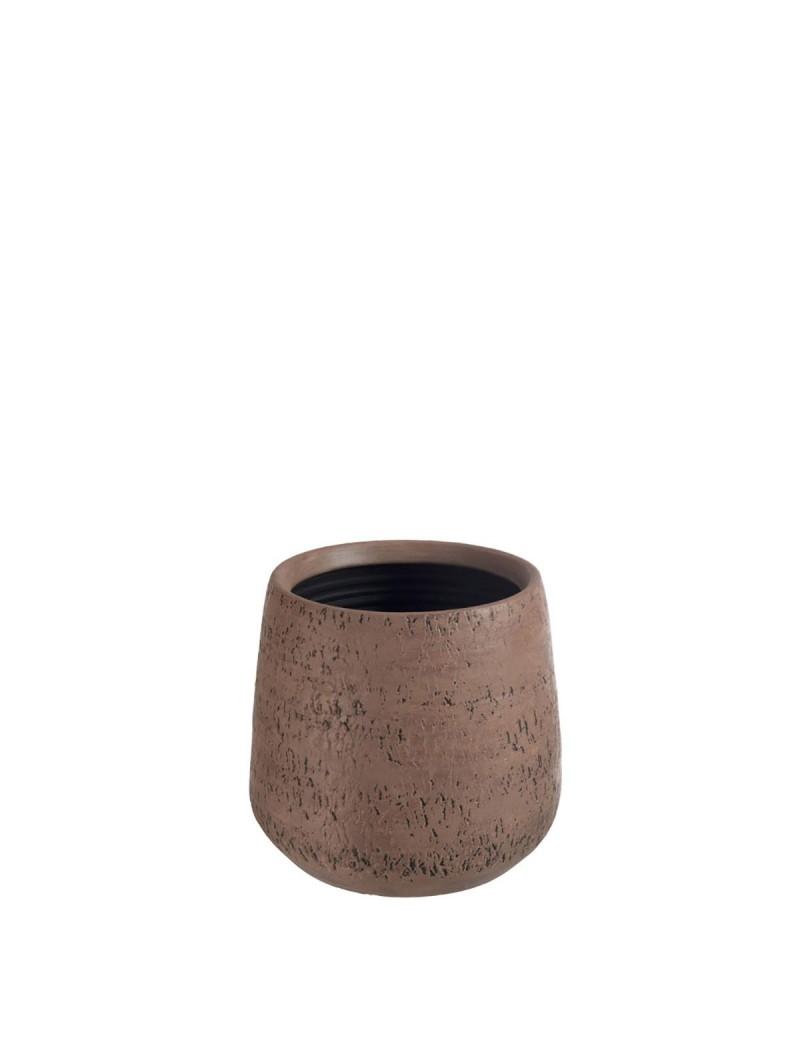 Cache pot Relief Terre Cuite Marron Large