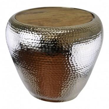 Table d'appoint en métal avec plateau en bois hauteur 50 cm
