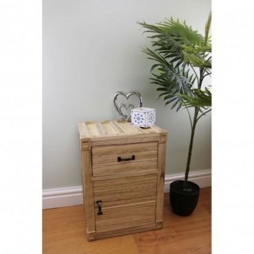 Table de chevet en bois placard + tiroir