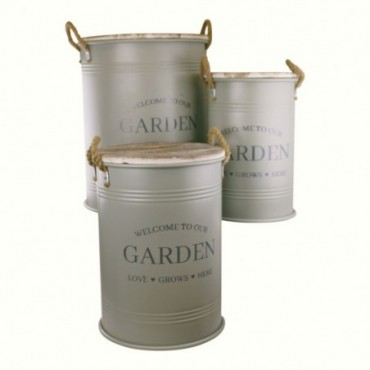 Lot de 3 tonneaux de rangement pour le jardin