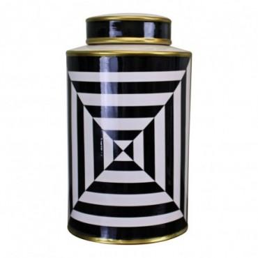 Vase à Couvercle en Céramique Noir Blanc et Or Design Géométrique 29cm