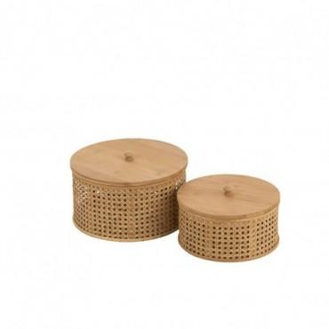 Boite de Rangement Rotin-Bambou