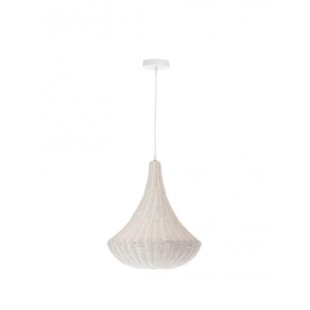 Lampe Suspendue Cone Metal Rotin Blanc
