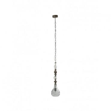 Lampe Suspendue Etroite Metal Verre Gris
