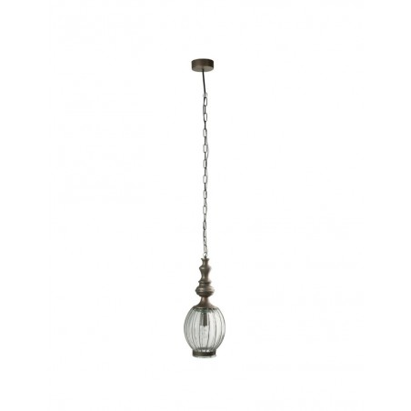 Lampe Suspendue Boule Metal Verre Gris
