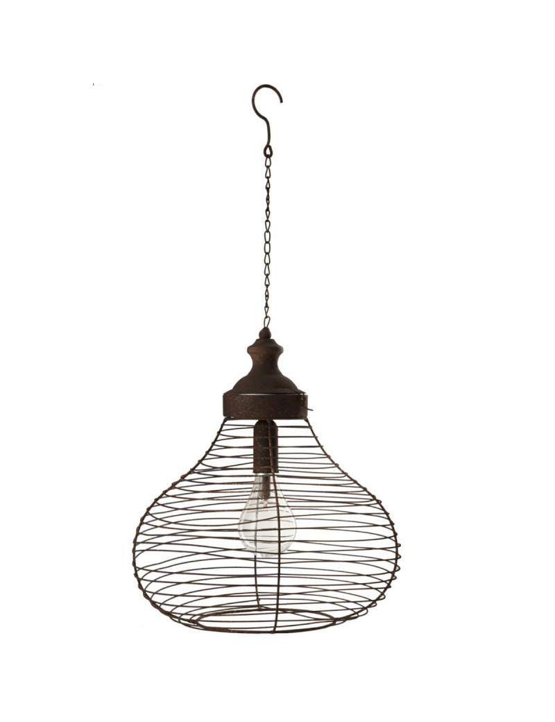 Lampe Plafond Batterie Led Metal Verre Rouille