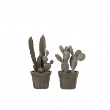 Cactus En Pot Résine Gris
