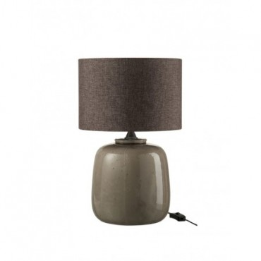 Pied De Lampe + Abat-Jour Ceramique Taupe