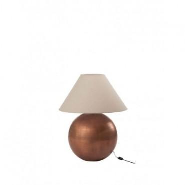 Pied De Lampe + Abat-Jour Boule Metal Cuivre Jute