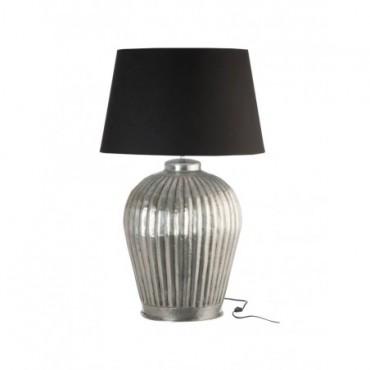 Pied De Lampe + Abat-Jour Cannelures Aluminium Gris Noir Large