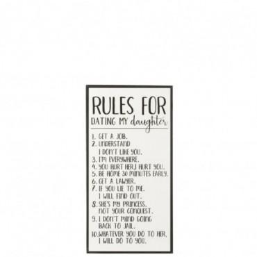 Pancarte Rules For Dating My Daughter Bois-Céramique Blanc-Noir
