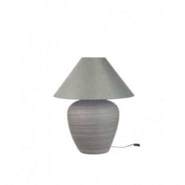 Pied De Lampe + Abat-Jour Boule E27 Ceramique Gris