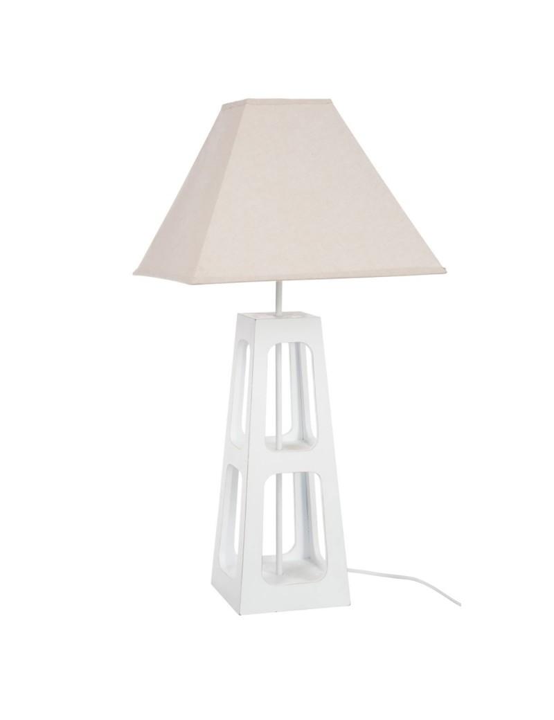 Lampe + Abat-Jour 2 Niveaux Bois Blanc petit