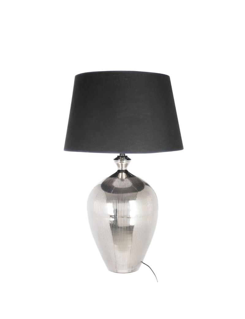 Pied De Lampe + Abat-Jour Boule Lignes Aluminium Argent Noir