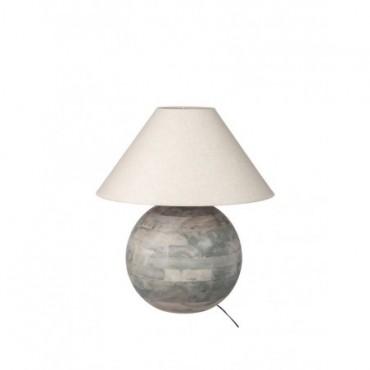 Lampe + Abat-jour Boule Barn bois Gris L