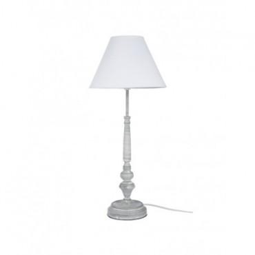 Pied De Lampe + Abat-Jour Classique Fer Forge Gris Blanc