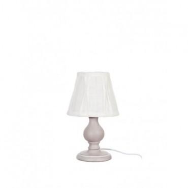Pied De Lampe + Abat-Jour Blanc Mini Boule Bois Taupe