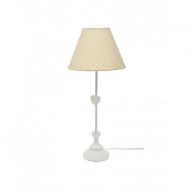 Pied De Lampe + Abat-jour Coeur bois blanc BeigeC