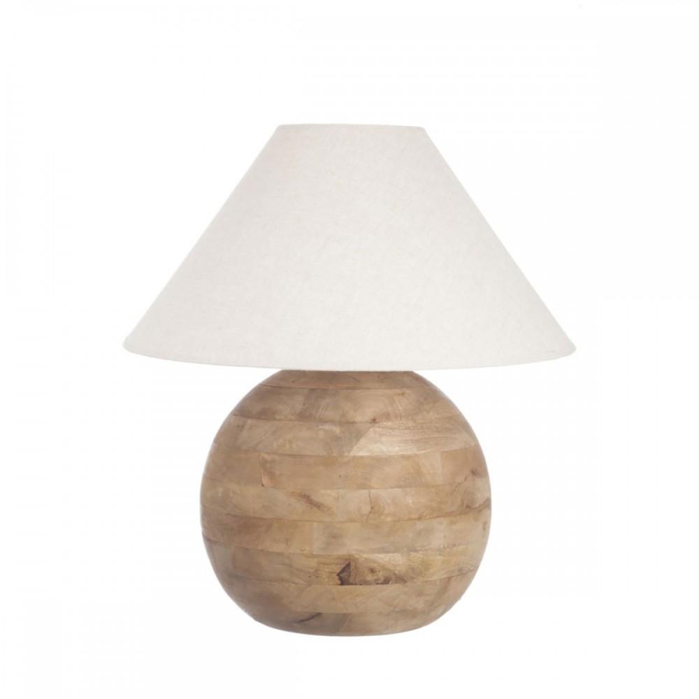 Pied De Lampe Boule bois naturel Large
