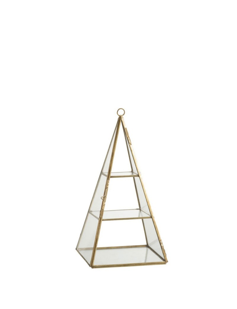 Photophore Pyramide Cuivre/Verre Or