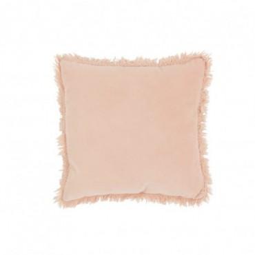 Coussin Bord Long Coton-Lin Rose