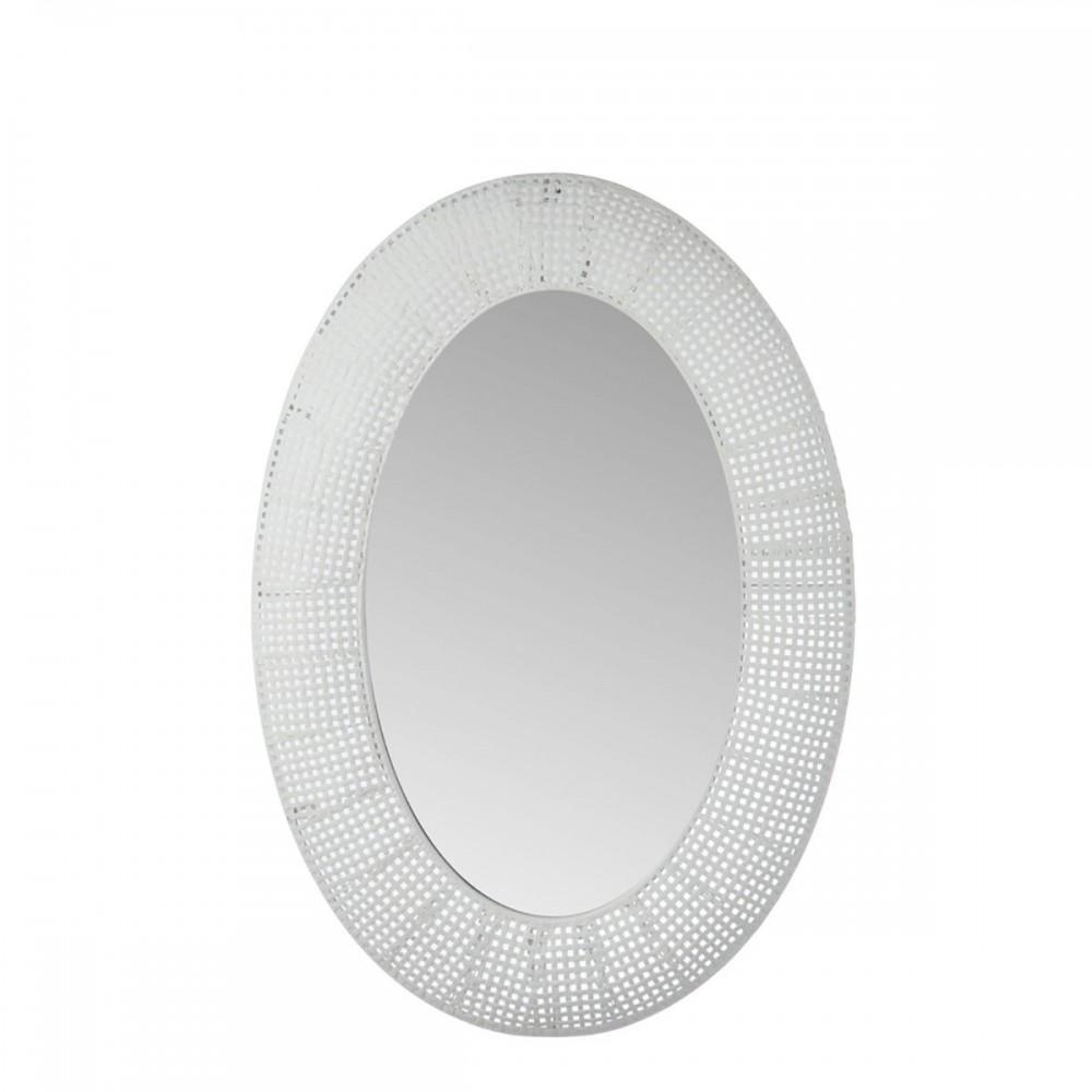 Miroir Ovale Trou Metal Verre Blanc Antique