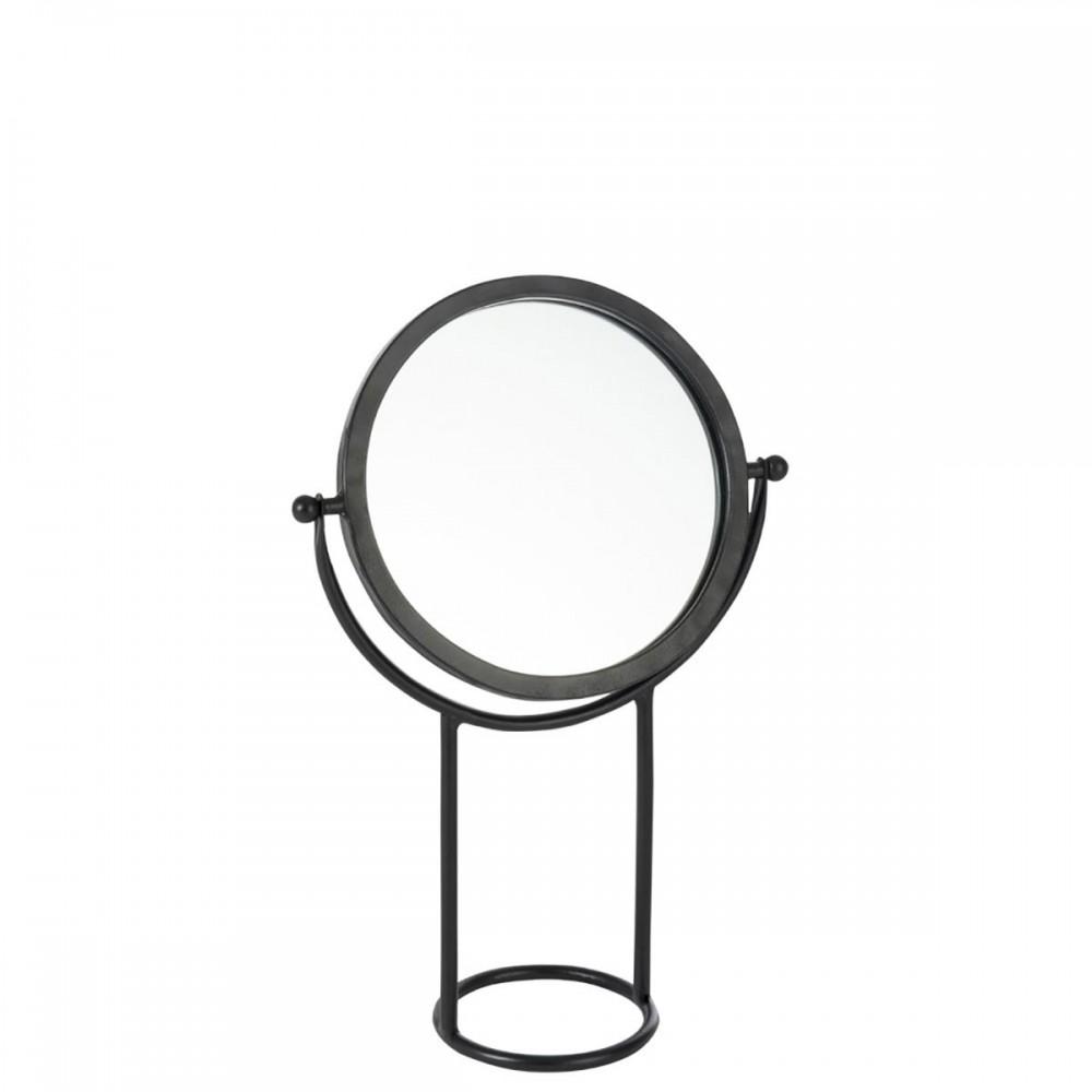 Miroir Sur Pied Rond Metal Verre Noir petit