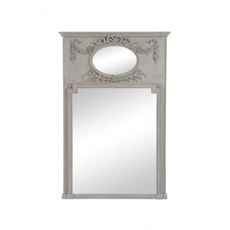 Miroir Ovale Rectangulaire Fleur Bois Antique Taupe