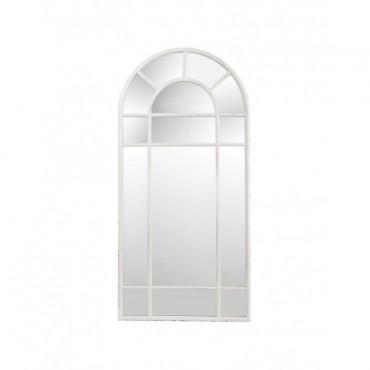 Miroir Arrondi Fenetre Metal Antique Blanc