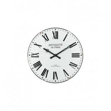 Horloge Chiffres Romain Antique Metal Blanc Noir