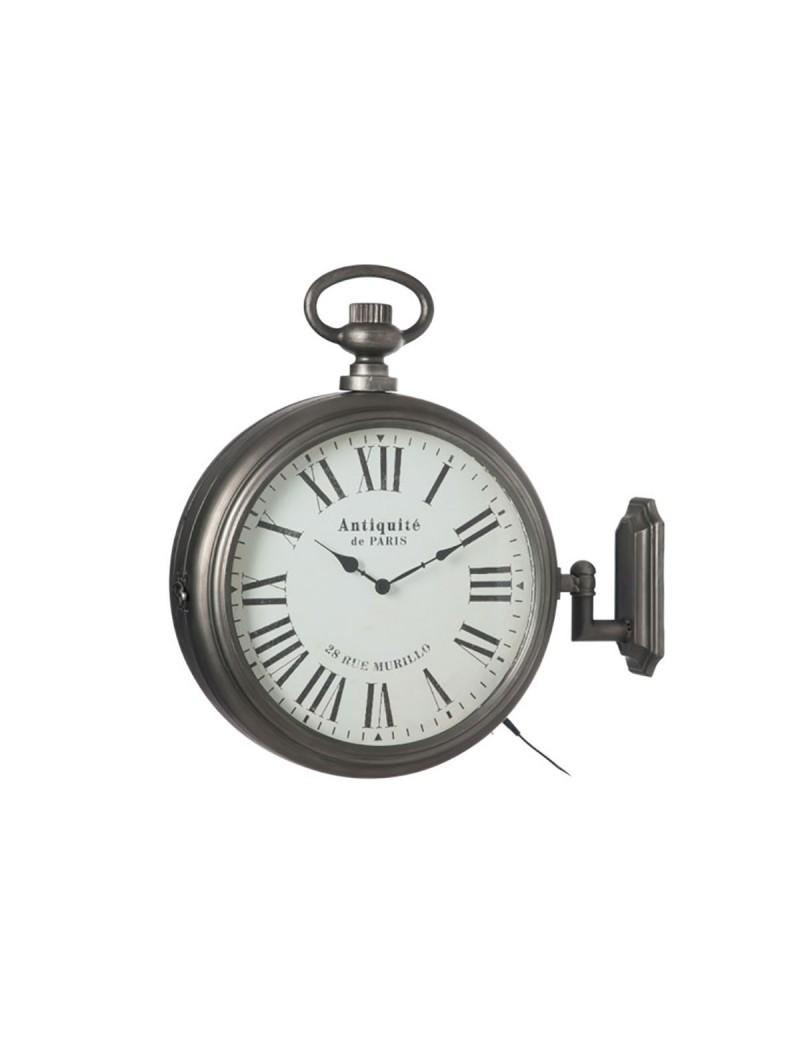 Horloge Antique 2 Cotes Led Metal Gris
