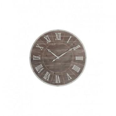 Horloge Ronde Chiffres Romains Metal bois Marron Blanc Large