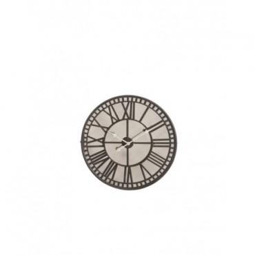 Horloge Chiffres Romains Miroir Metal Marron