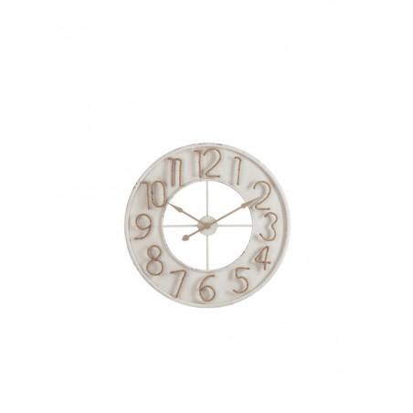 Horloge Chiffres Jute Metal Blanc Large